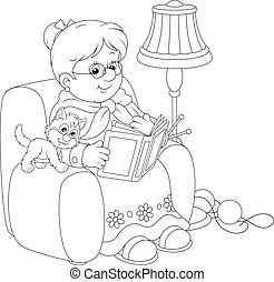 Granny reading - Grandmother sitting in her armchair