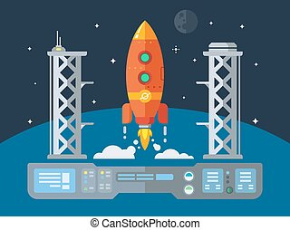Rocket Startup Flat Desing Concept illustration in retro...