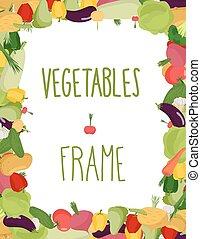 Fresh vegetables frame. Healthy food vector illustration
