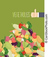 Bunch of fresh vegetables. Turnips and squash. Hand with the thumb up a favorable gesture. Proper nutrition of vegetables