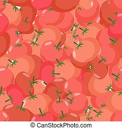 Tomato pattern. Seamless background with red tomatoes. Vector texture