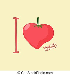 I love tomatoes Heart of red tomatoes Vector illustration