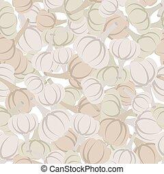 Garlic pattern. Seamless background with beige garlic. Vector texture