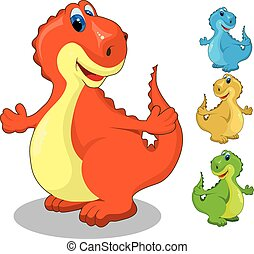 set of colored dinosaurs