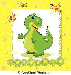 baby card with a dinosaur on a yellow background.eps