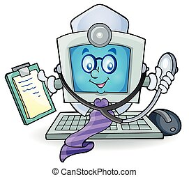 Computer doctor theme image 1 - eps10 vector illustration.