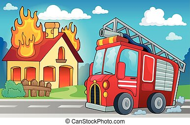 Fire truck theme image 3 - eps10 vector illustration