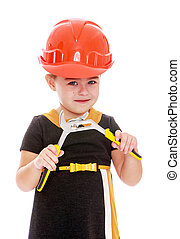 Funny little girl with a pair of pliers in his hands-...