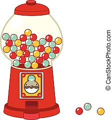 Vintage gumball machine isolated on white - Vector file...
