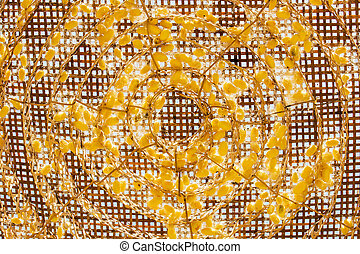 The Pattern spiral of silkworm cocoon on bamboo tray