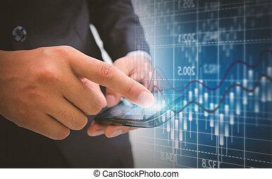 圖形, 圖表, 事務, 股票, 分析, 交換