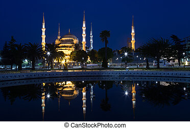 blue mosque Sultan Ahmed Mosque is reflected in water,...