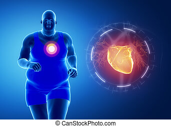 Fat obese man running with heart attack concept