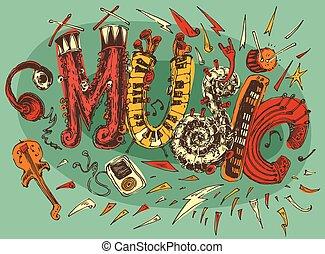 Music Illustration, Hand Drawn, Sketch, Retro - Jazz Rock...