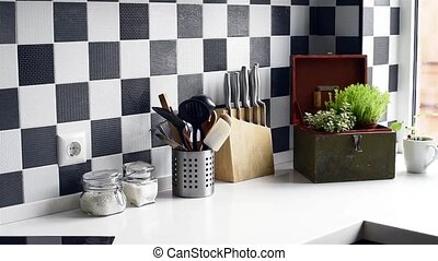 modern kitchen - Black and white interior of a modern...