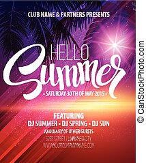 Hello Summer Beach Party Flyer Vector Design EPS 10