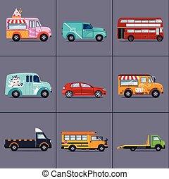vecteur, de, divers, urbain, et, ville, voitures, vehicles,...