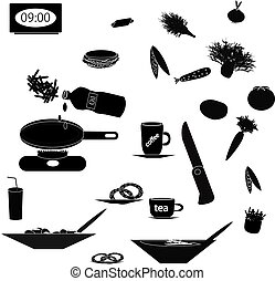 Set of black silhouettes of food and kitchen utensils on...