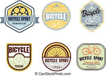 Typographic Bicycle Themed Label Design Set - Bike Shop and...