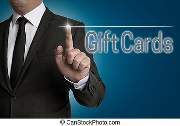 giftcard touchscreen is operated by businessman