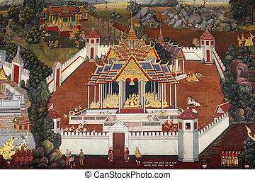 Wall painting at Grand Palace, Thailand