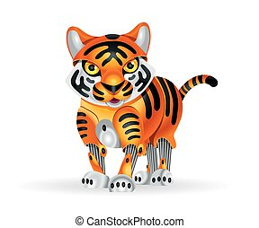 Robot tiger cub - Illustration of cute little tiger cub...