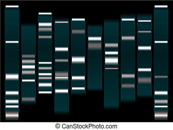 dna white - dna medical illustration with indicator marks...