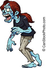 Zombie girl walking. Vector clip art illustration with...