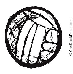 doodle water polo ball, vector