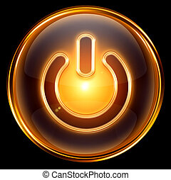 Power icon gold, isolated on black background