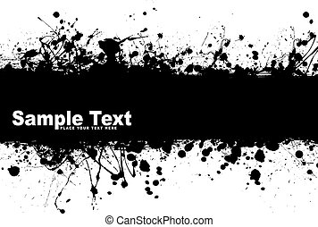 grunge banner ink - Black ink splat background with room to...