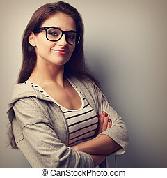 Beautiful success young casual woman looking happy. Vintage...