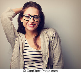 Happy casual young woman in glasses Vintage portrait - Happy...