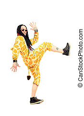 african party - Rock musician in a costume of giraffe...