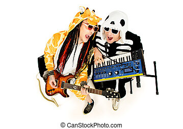electric disco - Rock band in costumes of skeleton and...