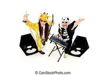 rock musicians - Rock band in costumes of skeleton and...