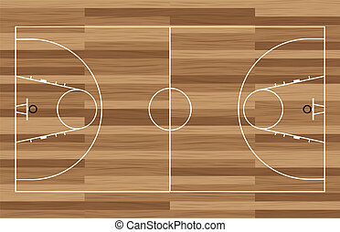 wood basketball court - basketball court outline with wooden...