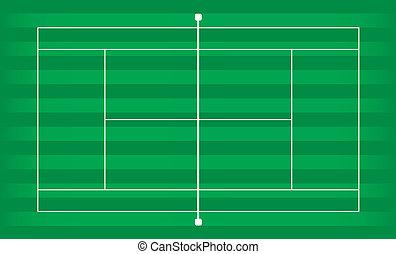 Tennis court grass - Tennis court outside on green grass...