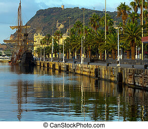 Vintage wooden ship in the Port Vell in Barcelona. Spain
