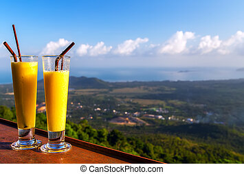 viewpoint - fruit cocktail in a glass viewpoint mountains