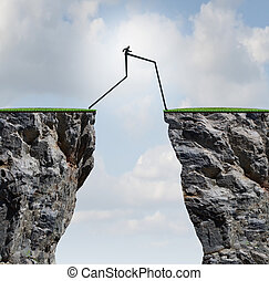 Overcoming an obstacle concept as a businessman with very...