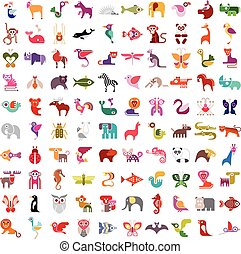 Animal icon set - Animals, birds, fishes and insects large...
