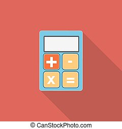 Calculator Flat Icon with Long Shadow, Vector Illustration