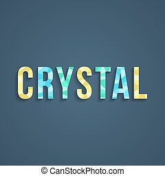 crystal lettering with shadow. isolated on stylish...