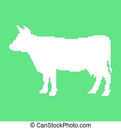 white cow in pixel art isolated on green background trendy...