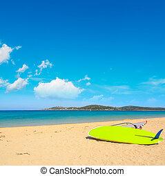 windsurf board in Porto Pollo beach, Sardinia