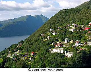 Village in mountains - modern norwegian settlements on...