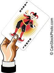 Vector Joker game card in hand