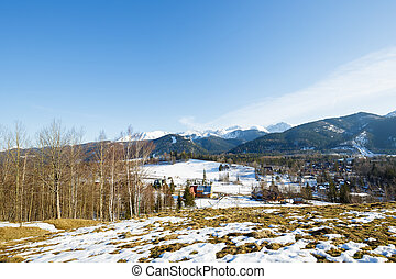 Winter landscape around - Suburban areas of Zakopane shows...
