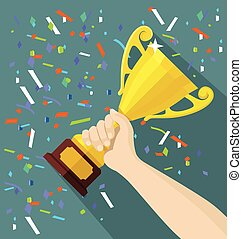 Vector gold cup in hand. Flat illustration